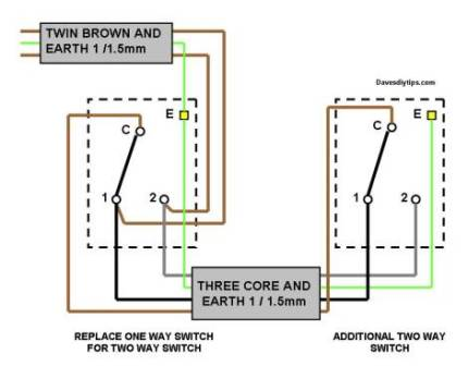 One-Way Lighting Circuit Modified for Two-Way Switching | Dave\'s DIY ...
