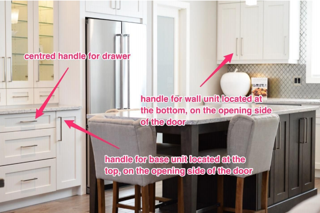 Where to fit handles and knobs to kitchen cabinets